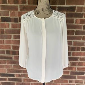 LOFT lace crochet cream blouse
